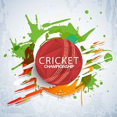 stock photo of cricket  - Cricket Championship concept with red stylish ball on colorful splash background - JPG