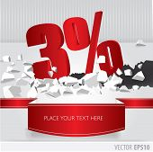 Red 3 Percent Discount On Vector Cracked Ground On White Background