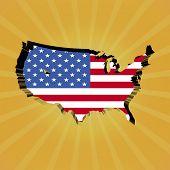 USA sunburst map with flag illustration
