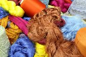 image of silk worm  - Colorful raw silk thread in the silk farm - JPG