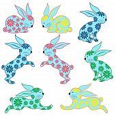 Eight Ornamental Rabbits