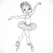 Beautiful Ballerina Girl Dancing In Tutu Outlined Isolated On A White Background
