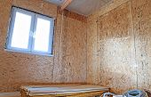 pic of framing a building  - Construction of wood frame walls of a country house - JPG