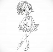 Cute Ballerina In Tutu Outlined Isolated On A White Background