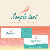 Logos and identification. Business card, banner. Aesthetics, relaxation, spa. Flight of a woman in t