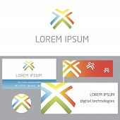 Abstract modern geometric logo and identification. Four arrows. center.