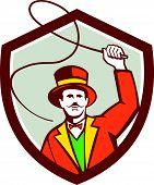 Circus Ring Master Bullwhip Shield Retro