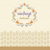 Vector logo. Vintage, exclusive. Vignette of lily flowers. Floral border
