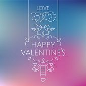 Happy valentine's day card. Birds on the crown of a tree, kiss the clouds, staircase. Valentine labe