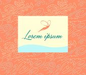 Seamless background with a pattern of flowers, waves and shells. Linear pattern. Logo with the image