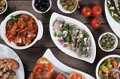 picture of buffet  - Spanish tapas or antipasto food - JPG