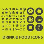 drink, food, restaurant, cafe, meat, vegetables, fruits icons, signs, illustrations on background set, vector