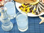 picture of ouzo  - Misc seafood and greek alcohol drink ouzo - JPG