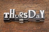 stock photo of thursday  - Thursday word in mixed vintage metal type printing blocks over grunge wood - JPG