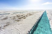 picture of salt mine  - Salt water pool on the Salinas Grandes salt flats in Jujuy province northern Argentina.