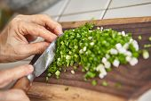 stock photo of scallion  - Hand cut scallion used as ingredient for cooking - JPG