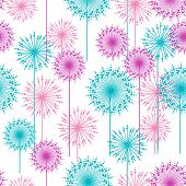 Seamless pattern with abstract pink and blue dehlia flowers. Vector illustration.