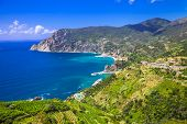 scenery of Ligurian coast- view of Monterosso al mare, Cinque te