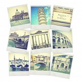 Set of old instant photos of Italy. Instagram style filtred images