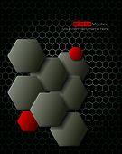 Dark gray hexagons technology and communication background. Vector illustration