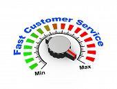 stock photo of maxim  - 3d illustration of knob set at maximum for fast customer support - JPG