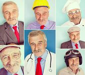 Elderly man portrait collage for several professions