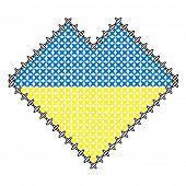 color heart like ukraine flag, like handmade cross-stitch good