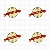 picture of free-trade  - various free retro badge set vector art illustration - JPG