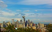 foto of view from space needle  - Seattle city panorama and Mount Rainier with a snow top - JPG