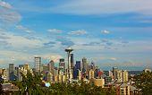Seattle city skyline with Mount Rainier on background in summer.