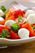 Italian salad with tomatoes and mozzarella (caprese)
