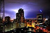thunder night in modern city
