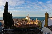 Panoramic view of adriatic sea and city of Piran in Istria