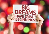 Big Dreams Have Small Beginnings card with colorful background with defocused lights