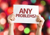 Any Problems? card with colorful background with defocused lights