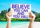 Believe You Can and You Will card with a beach background