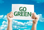 Go Green card with sky background