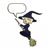 cartoon witch riding broomstick with speech bubble