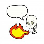 stock photo of fire-breathing  - cartoon fire breathing skull with speech bubble - JPG