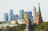 Moscow, Kremlin And Modern Skyscrapers