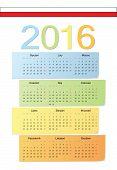 Polish 2016 Vector Color Calendar.