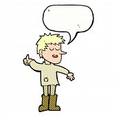 cartoon poor boy with positive attitude with speech bubble