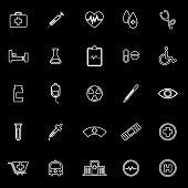 Medical Line Icons On Black Background