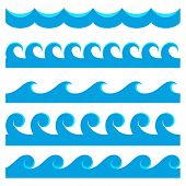 Set of seamless textures with a symbolic image of waves