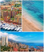 Monaco harbour and coast, collage, Cote d'Azur
