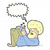 cartoon hippie man with speech bubble