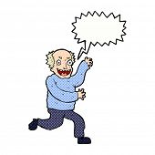 cartoon evil old man with speech bubble