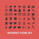 internet store, shopping icons set, vector