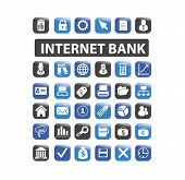internet bank, finance icons, illustrations, signs set, vector