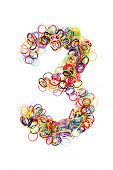 Colorful Elastic Rubber Bands Shape Number Three